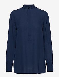 Silk Long-Sleeve Blouse - CRUISE NAVY