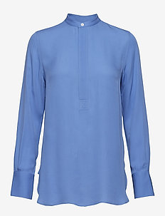 Silk Long-Sleeve Blouse - HARBOR ISLAND BLU