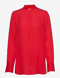 Silk Long-Sleeve Blouse - PANDORA RED