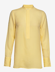 Silk Long-Sleeve Blouse - WICKET YELLOW