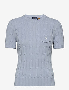 Cable Short-Sleeve Sweater - strikkede toppe - pale blue