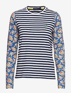 Print Cotton Long-Sleeve Tee - RUSTIC NAVY/NEVIS