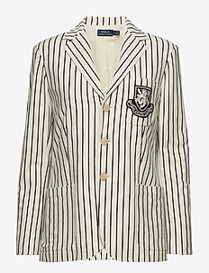 Striped Patch Cotton Blazer - WINTER CREAM/POLO