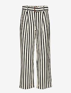 Striped Cotton Wide-Leg Pant - WINTER CREAM/POLO
