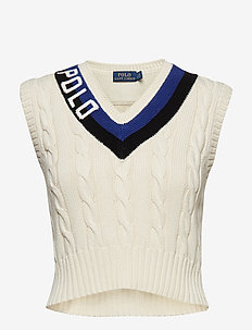 Polo Cotton Cricket Vest - CREAM/BLACK/ROYAL