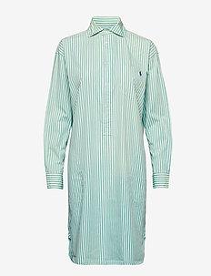 Striped Poplin Shirtdress - 112A SEAFOAM GREE