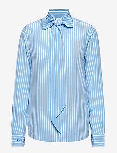 PRNTD 18MM SILK CDC-LSL-SHT - long-sleeved shirts - 102 french blue s