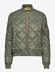 Quilted Bomber Jacket - FOSSIL GREEN