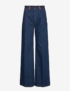 Leather-Trim Wide-Leg Jean - DARK INDIGO