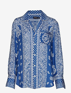 Bandanna-Print Twill Shirt - BLUE PAREO PRINT
