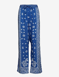 Paisley Twill Wide-Leg Pant - BLUE PAREO