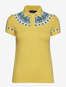 Jacquard-Knit Sweater Polo - PALE YELLOW MULTI
