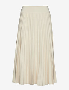 Pleated Merino Wool Midi Skirt - CREAM