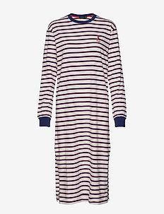 Striped Cotton Tee Dress - midi dresses - warm white multi