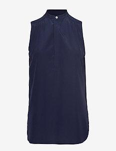 Sleeveless Silk Shirt - CRUISE NAVY