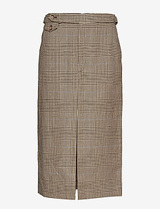 Glen Plaid Linen-Cotton Skirt - GLEN PLAID W/ BLU