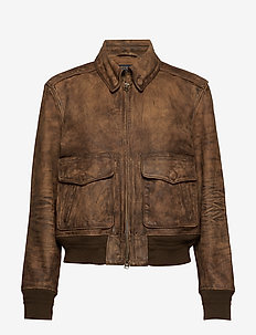 Painted Leather Bomber Jacket - COOPER BROWN