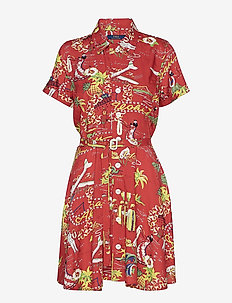 Tropical Fit-and-Flare Dress - HULA GIRL PRINT