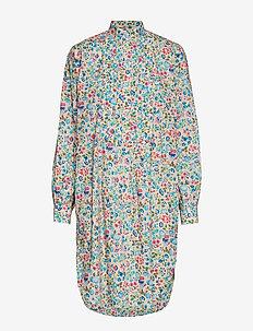 Floral Cotton Shirtdress - BLUE TAN FLORAL