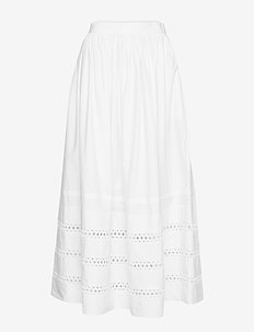 Lace-Trim Maxiskirt - WARM WHITE