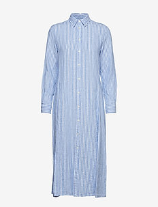 Striped Linen Shirtdress - 956A BLUE/WHITE