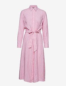 Striped Linen Shirtdress - 956B PINK/WHITE