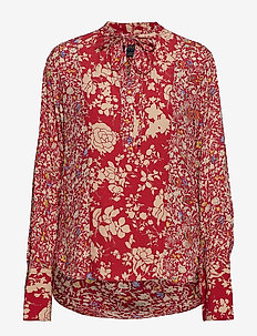 Floral Crepe Top - RED COMBO FLORAL