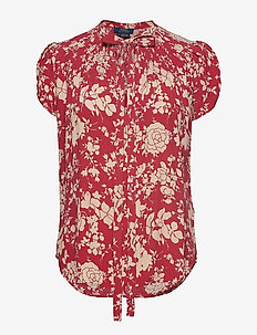 Floral Keyhole Crepe Top - RED MEADOW FLORAL