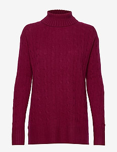 Cable-Knit Turtleneck Sweater - BURGUNDY