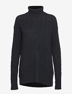 Cable-Knit Turtleneck Sweater - CHARCOAL HEATHER