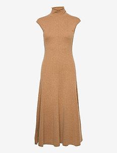 Cashmere Sleeveless Dress - midi dresses - collection camel