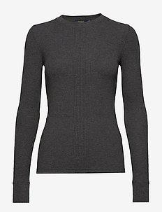 Elbow-Patch Rib-Knit Top - tröjor - barclay heather