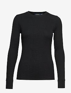Elbow-Patch Rib-Knit Top - tröjor - polo black