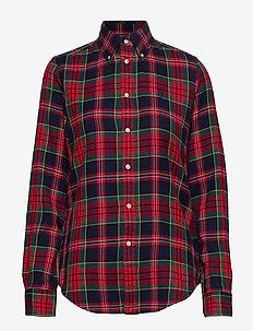 Plaid Cotton Shirt - 400 RED/NAVY
