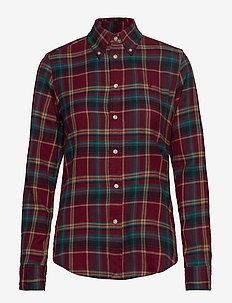 Plaid Cotton Shirt - 501 BURGUNDY/GREE