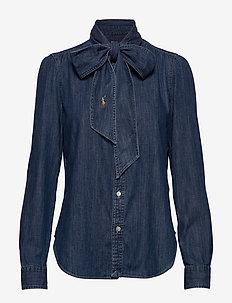 Necktie Denim Shirt - jeansskjortor - bsr medium indigo