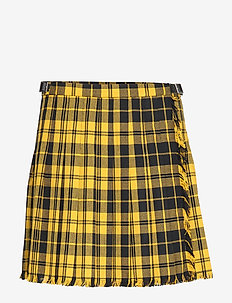 Pleated Wool-Blend Miniskirt - YELLOW TARTAN