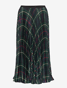 Pleated Georgette Skirt - GREEN TARTAN