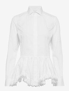 Broadcloth Peplum Shirt - långärmade blusar - white