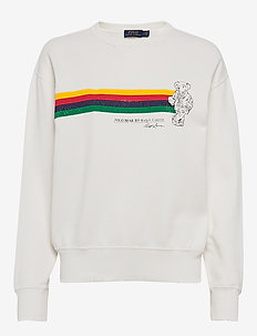 Fleece Polo Bear Pullover - sweatshirts - deckwash white