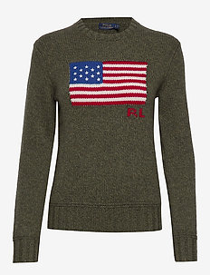 Flag Wool-Blend Sweater - jumpers - olive ragg multi