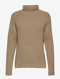 Ribbed Turtleneck Sweater - LUXURY BEIGE HEAT