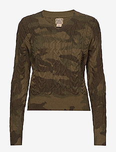 Camo Cable-Knit Sweater - jumpers - camo