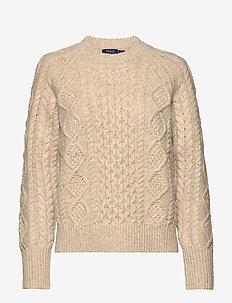 Aran-Knit Wool-Blend Sweater - jumpers - oatmeal