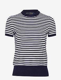 Striped Short-Sleeve Sweater - randiga t-shirts - bright navy/white