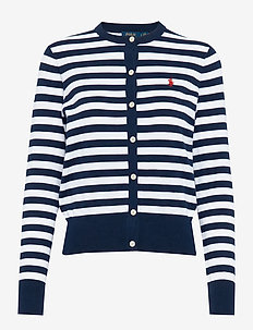 Striped Cotton Cardigan - BRIGHT NAVY/WHITE