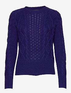 Cotton Cable-Knit Sweater - FALL ROYAL
