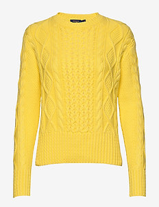 Cotton Cable-Knit Sweater - jumpers - lemon crush
