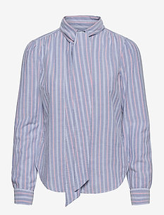 Cotton Tie-Neck Shirt - long-sleeved shirts - 832 blue/pink