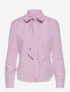 Cotton Tie-Neck Shirt - langærmede skjorter - 833 pink/navy
